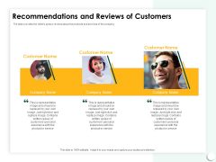 Startup Presentation For Collaborative Capital Funding Recommendations And Reviews Of Customers Ppt File Diagrams PDF