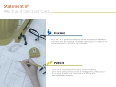 Statement Of Work And Contract Cont Insurance Ppt PowerPoint Presentation Summary Demonstration