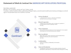 Statement Of Work And Contract For Android App Developers Proposal Ppt PowerPoint Presentation Icon Topics