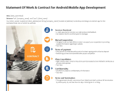 Statement Of Work And Contract For Android Mobile App Development Ppt PowerPoint Presentation Show Background