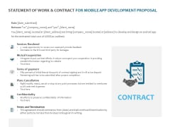Statement Of Work And Contract For Mobile App Development Proposal Ppt PowerPoint Presentation Inspiration Example Topics