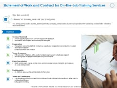 Statement Of Work And Contract For On The Job Training Services Ppt Backgrounds PDF