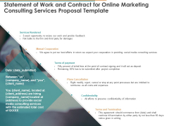 Statement Of Work And Contract For Online Marketing Consulting Services Proposal Template Ppt Infographics Templates PDF