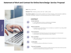 Statement Of Work And Contract For Online Store Design Service Proposal Ppt PowerPoint Presentation Portfolio Slide Portrait
