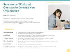 Statement Of Work And Contract For Opening New Organization Ppt PowerPoint Presentation Ideas Skills PDF