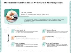 Statement Of Work And Contract For Product Launch Advertising Services Ppt PowerPoint Presentation Model Guidelines PDF
