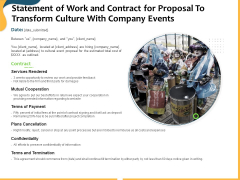 Statement Of Work And Contract For Proposal To Transform Culture With Company Events Ppt Show Example Introduction PDF