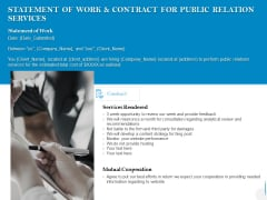 Statement Of Work And Contract For Public Relation Services Ppt PowerPoint Presentation Infographic Template Ideas