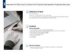 Statement Of Work And Contract For Publicity Generation Proposal Services Ppt PowerPoint Presentation Professional Samples