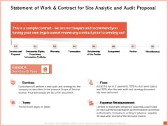 Statement Of Work And Contract For Site Analytic And Audit Proposal Ppt Professional Diagrams PDF