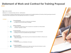 Statement Of Work And Contract For Training Proposal Ppt PowerPoint Presentation File Example