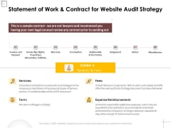 Statement Of Work And Contract For Website Audit Strategy Ppt PowerPoint Presentation File Clipart PDF