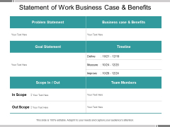 Statement Of Work Business Case And Benefits Ppt PowerPoint Presentation Professional Introduction