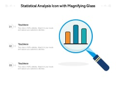 Statistical Analysis Icon With Magnifying Glass Ppt PowerPoint Presentation Gallery Clipart Images PDF