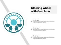 Steering Wheel With Gear Icon Ppt PowerPoint Presentation Show Graphics Template