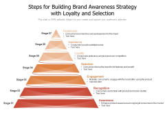 Steps For Building Brand Awareness Strategy With Loyalty And Selection Ppt PowerPoint Presentation Gallery Graphic Images PDF