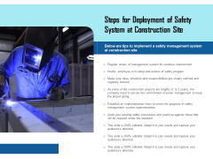 Steps For Deployment Of Safety System At Construction Site Ppt PowerPoint Presentation Pictures Vector PDF