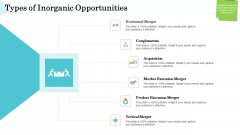 Steps In M And A Process Types Of Inorganic Opportunities Graphics PDF
