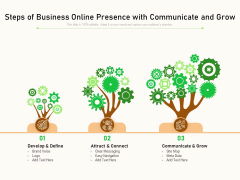 Steps Of Business Online Presence With Communicate And Grow Ppt PowerPoint Presentation File Master Slide PDF