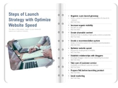 Steps Of Launch Strategy With Optimize Website Speed Ppt PowerPoint Presentation Outline Portfolio PDF