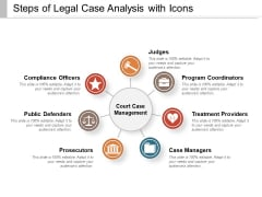 Steps Of Legal Case Analysis With Icons Ppt PowerPoint Presentation File Example PDF