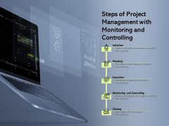 Steps Of Project Management With Monitoring And Controlling Ppt PowerPoint Presentation Visual Aids Files PDF