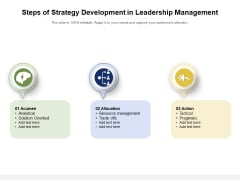 Steps Of Strategy Development In Leadership Management Ppt Powerpoint Presentation Infographic Template Information Pdf
