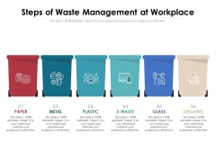 Steps Of Waste Management At Workplace Ppt PowerPoint Presentation File Slideshow PDF
