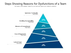 Steps Showing Reasons For Dysfunctions Of A Team Ppt PowerPoint Presentation Professional Ideas PDF