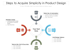Steps To Acquire Simplicity In Product Design Ppt PowerPoint Presentation Gallery Images PDF