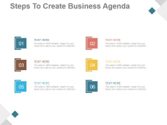 Steps To Create Business Agenda Ppt PowerPoint Presentation Information