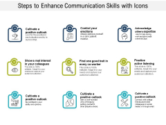 Steps To Enhance Communication Skills With Icons Ppt PowerPoint Presentation Gallery Layouts