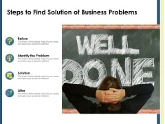 Steps To Find Solution Of Business Problems Ppt PowerPoint Presentation File Deck