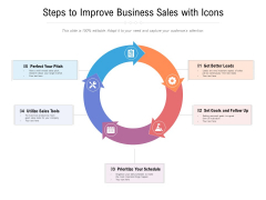 Steps To Improve Business Sales With Icons Ppt PowerPoint Presentation Slides Guide PDF