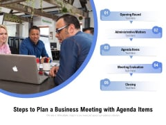 Steps To Plan A Business Meeting With Agenda Items Ppt PowerPoint Presentation Layouts Examples