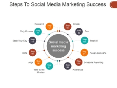 Steps To Social Media Marketing Success Ppt PowerPoint Presentation Portfolio Skills