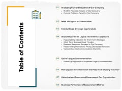 Stepwise Strategy Table Of Contents Ppt Slides Show PDF