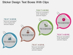 Sticker Design Text Boxes With Clips Powerpoint Template