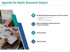 Stock Market Research Report Agenda For Equity Research Report Ppt PowerPoint Presentation Icon Themes PDF