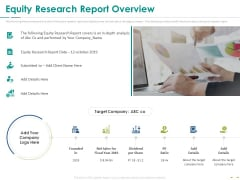 Stock Market Research Report Equity Research Report Overview Guidelines PDF