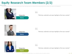 Stock Market Research Report Equity Research Team Members Planning Infographics PDF