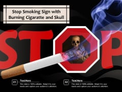 Stop Smoking Sign With Burning Cigaratte And Skull Ppt PowerPoint Presentation Gallery Layout Ideas PDF