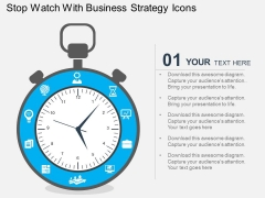 Stop Watch With Business Strategy Icons Powerpoint Templates