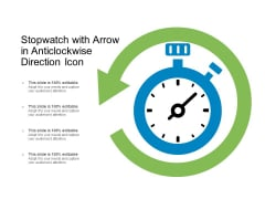 Stopwatch With Arrow In Anticlockwise Direction Icon Ppt PowerPoint Presentation Inspiration Slide PDF