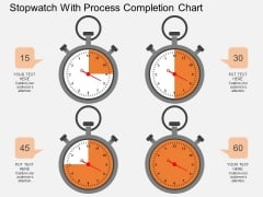 Stopwatch With Process Completion Chart Powerpoint Template