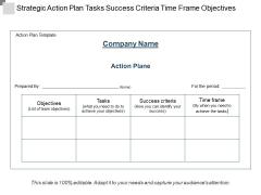 Strategic Action Plan Tasks Success Criteria Time Frame Objectives Ppt PowerPoint Presentation File Slide Download PDF