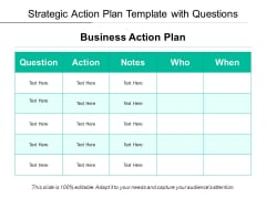 Strategic Action Plan Template With Questions Ppt PowerPoint Presentation File Designs PDF