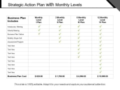 Strategic Action Plan With Monthly Levels Ppt PowerPoint Presentation Icon Ideas PDF