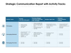 Strategic Communication Report With Activity Tracks Ppt PowerPoint Presentation Gallery Structure PDF