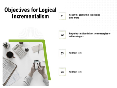 Strategic Growth Technique Objectives For Logical Incrementalism Ppt Gallery Templates PDF